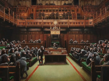 Banksy painting of MPs as chimpanzees