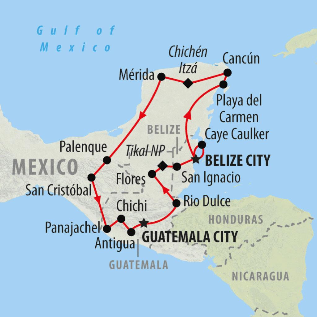 Mèxic, Belize, Guatemala