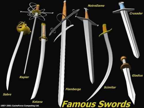 Diverses classes d'espases i sabres