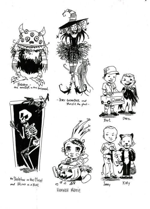 Diversos esbossos dels personatges de la Bruixa madrina.