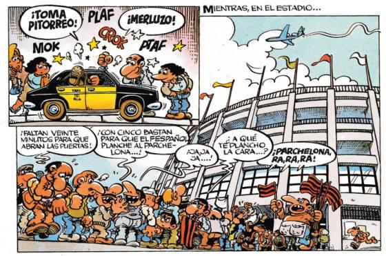 La ciutat de Barcelona és un dels escenaris habituals on Superlópez viu les seves esbojarrades aventures.