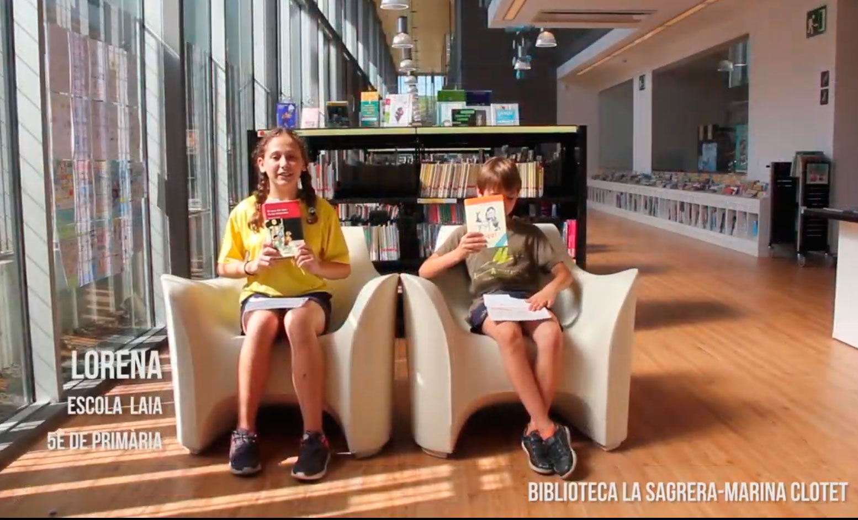 Booktubers a la Biblioteca La Sagrera-Marina Clotet: Lorena i Víctor