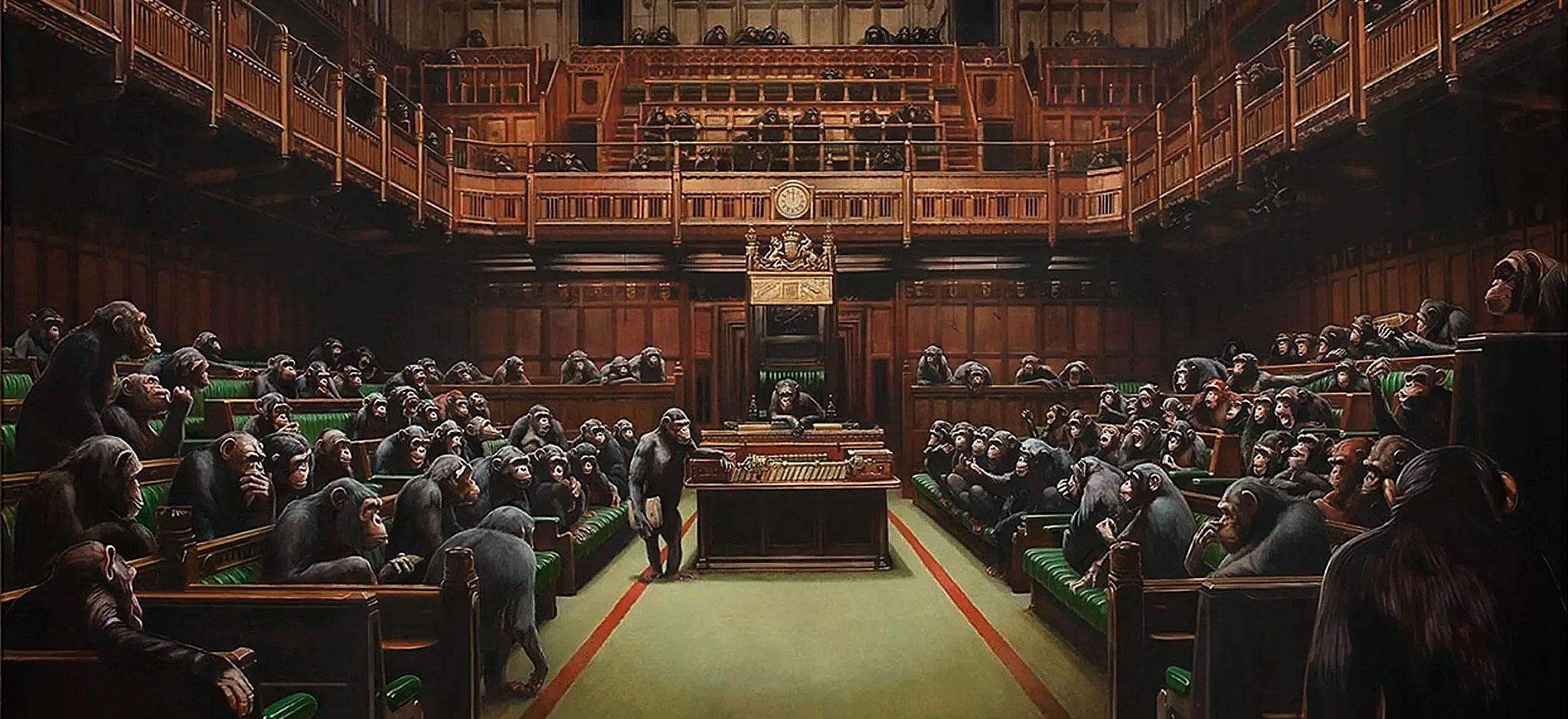 Banksy painting of MPs as chimpanzees
