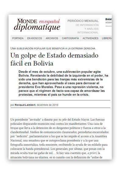 Lambert, Renaud Un golpe de Estado demasiado fácil en Bolivia