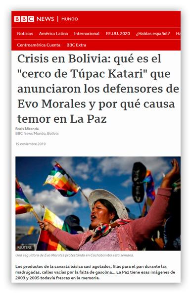 """Miranda, Boris Crisis en Bolivia: qué es el """"cerco de Túpac Katari"""" que anunciaron los defensores de Evo Morales y por qué causa temor en La Paz"""